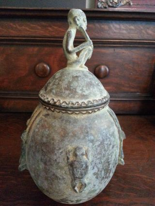 Antique Dogon Tribe Bronze Urn With Lid,  Vessel With Elder West Africa photo