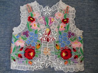 Embroidered Lace Hungarian Kalocsa Hand - Made Vest photo