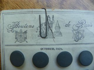 Antique1878 Boutons De Paris Great Card Of 36 Covered Buttons Fantastic photo