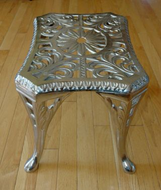 Antique Fireplace Trivet Or Footman Or Pot Stand With Ornate Cutwork photo