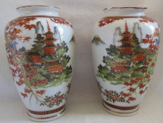 Pair Japanese Meiji Kutani Orange Gold Mark Porcelain Vases Birds Fuji Pagoda 6