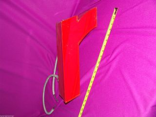 Vintage Neon Red Metal Sign Initial Letter = R = 16