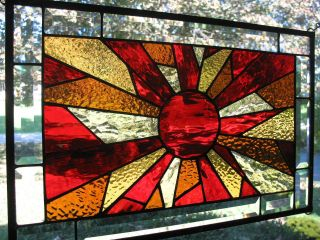 Autumn Sun Stained Glass Window Panel Nr photo