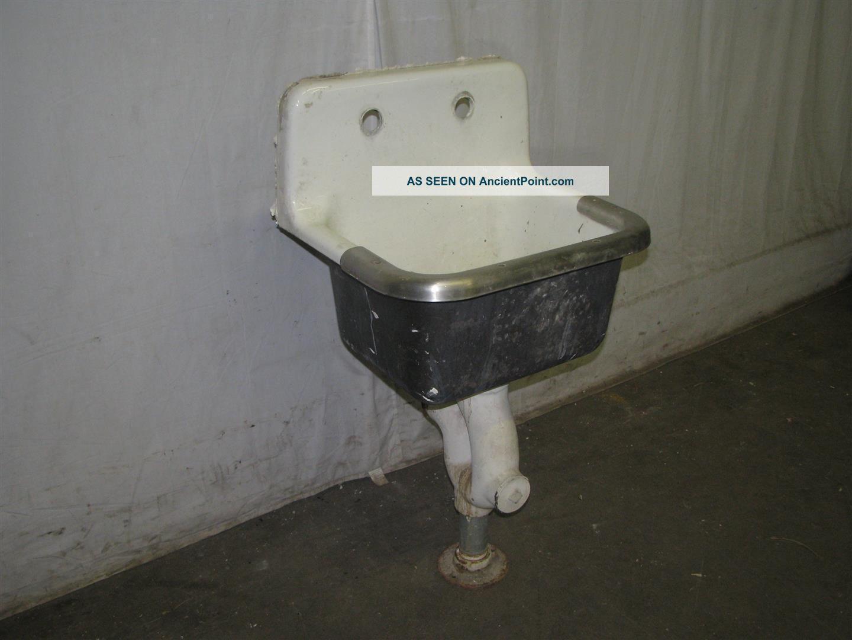 Antique Industrial Porcelain Over Cast Iron Slop Sink Sinks photo