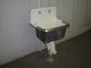 Antique Industrial Porcelain Over Cast Iron Slop Sink photo