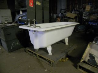Rare 6.  5 Ft.  English Claw Foot Tub Complete With Unique Hardware photo