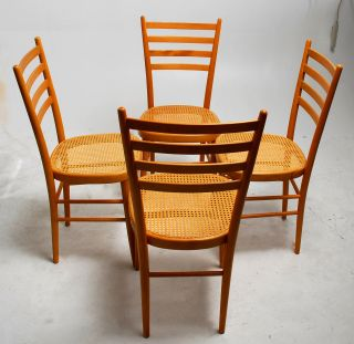 Set Of 4 Elegant Vintage Ladderback Dining Chairs With Cane Seats photo