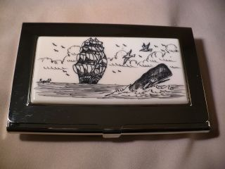 Business Card Holder - Resin Inlay Ship - Sperm Whale photo