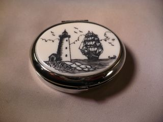 Silver Womans Pill Box - Ship - Lighthouse photo