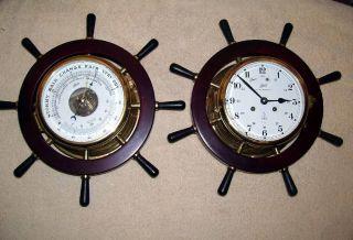 Vintage Schatz Royal Mariner Nautical Ships Bell Clock & Barometer W/key 7 Jewel photo