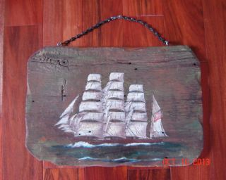 Ship Painting On Wood - Clipper Ship The