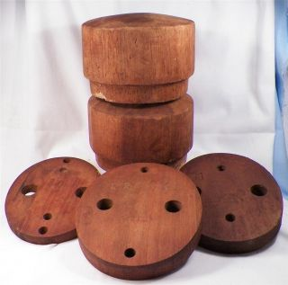 5 Antique Hat Form Molds Blocks Wooden Millinery Wood Industrial Varied photo