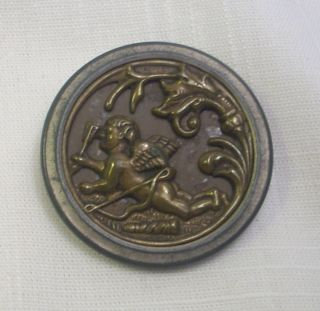 Large Antique Embossed Brass Two Piece Shank Button - Cupid & Arrows - Love photo