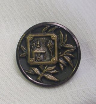 Rare Antique Embossed Brass Two Piece Shank Button - Buddha In Temple - Bamboo photo