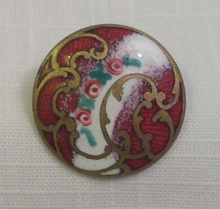 Antique French Champleve Enamel Button - 3 Pink Roses - Gold Florishes - 1 1/8