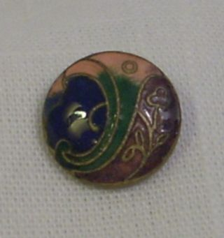 Antique French Champleve Enamel Button - Art Nouveau Floral Design - Multi - Color photo