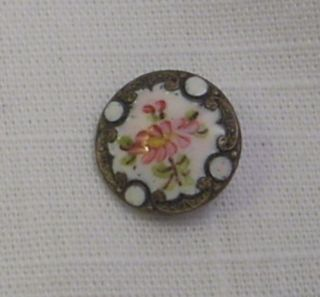 Antique French Champleve Enamel Button - Pink Floral & White Dots - 9/16