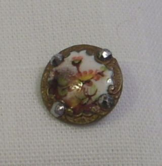 Antique French Champleve Enamel Button - Pink Floral - Cut Steels - 1/2