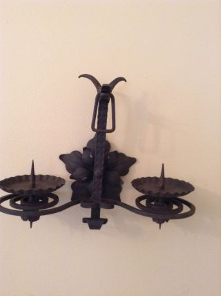 C 1900 French Wrought Iron Dragon Face Gothic Spirals Sconces Vintage photo