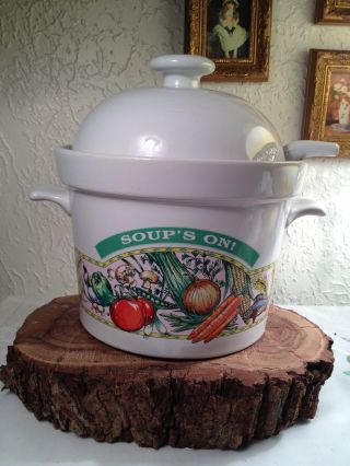 Soup ' S On By Himark Soup Tureen Pot Crock Server Warmer Ladle Porcelain Retired photo
