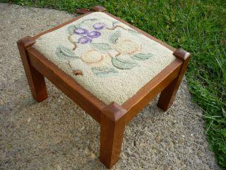 Antique Mission Solid Oak Arts & Crafts Foot Stool Bench - Vintage photo
