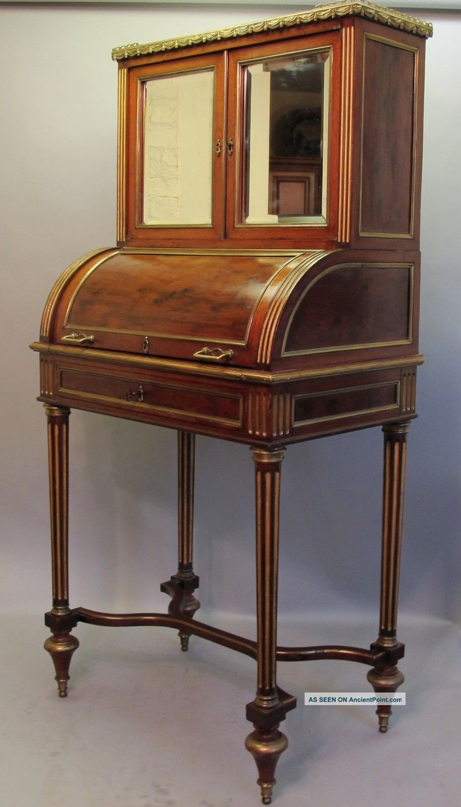 & Rare 19th C.  French Rosewood Cylinder Writing Desk C.  1890 Table 1800-1899 photo