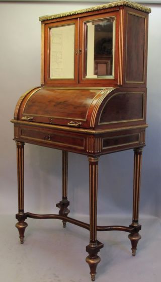 & Rare 19th C.  French Rosewood Cylinder Writing Desk C.  1890 Table photo