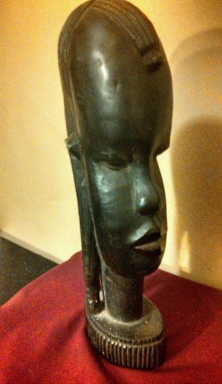 Stunning Wood Carved African Woman Statue.  Regal photo