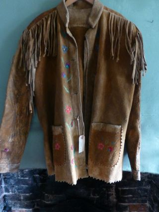 Antique Native American Cree Indian Embroidered Jacket photo