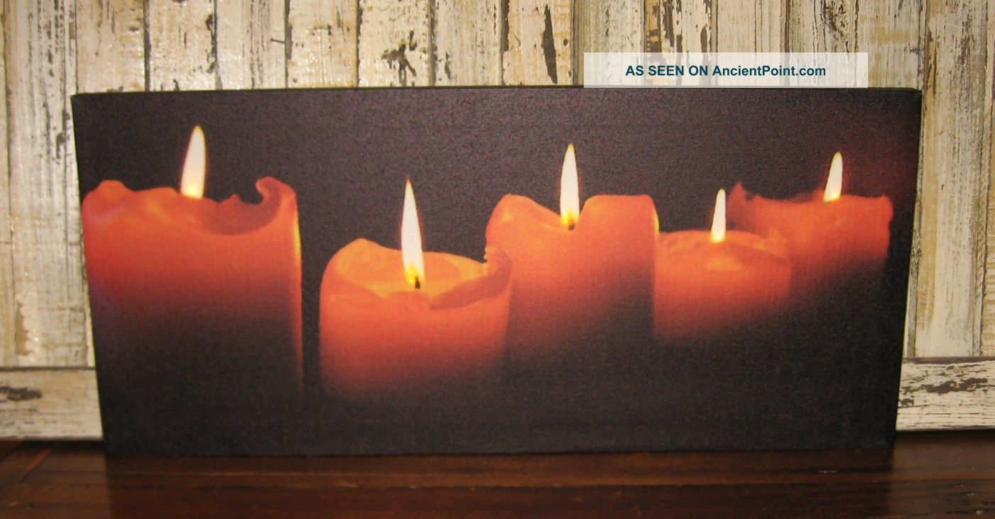 Pillar Candles Lighted Canvas Picture Primitive Christmas