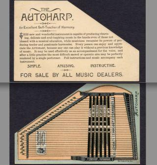 C.  F.  Zimmermann Autoharp Dolgeville Ny Die - Cut Victorian Advertising Trade Card photo