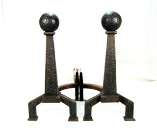 Antique Arts & Crafts Mission Cast Iron Ball Top Andirons Bradley & Hubbard Co. photo