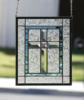 Clear Cross Contemporary Stained Glass Window Panel - Clear Beveled Cross photo