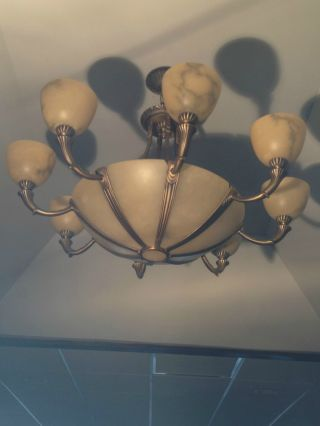 Imported Chandalier With 8 Arms From Spain.  Antique Bronze Finish With Alabaste photo