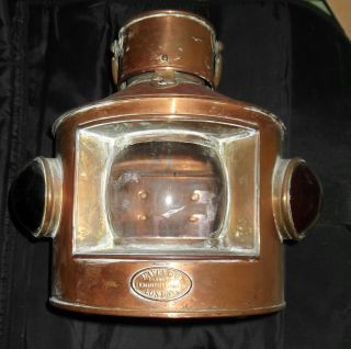 Antique Davey And Co Maritime Navigation Lantern Light Fore/port/starboard Lens photo