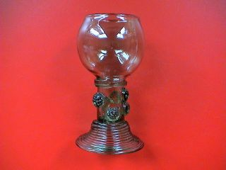 Fantastic Post Medieval Handblown Green Glass Roemer/goblet,  17th Century Ad. photo