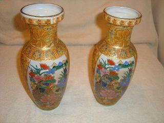 Vintage Satsuma Moriage Vases Parrots W/gold Gilt Beadwork photo
