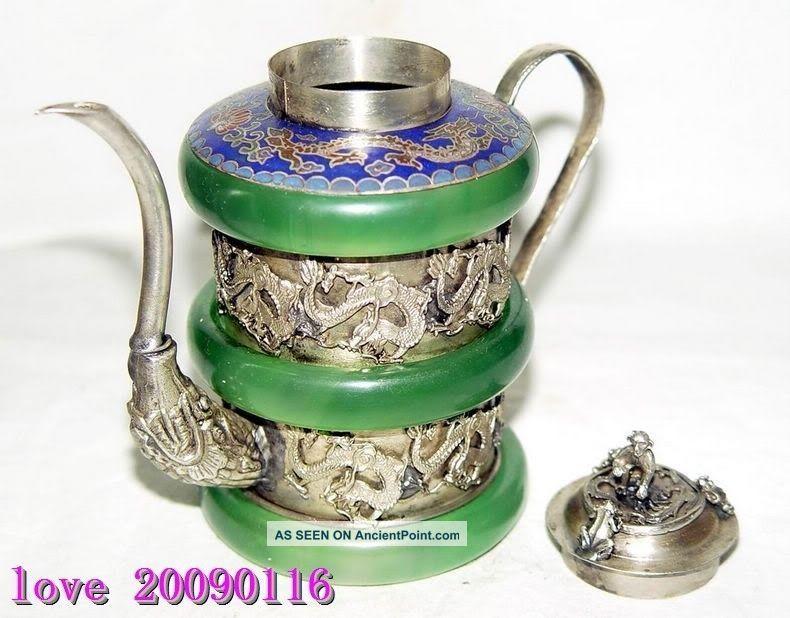 CHINESE HANDWORK TIBET-SILVER DRAGON OLD JADE TEA POT