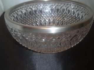 Silver Plated Sheffield England Crystall Salad Bowl With Utensils photo