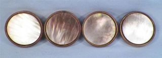 4 Smokey Mother Of Pearl & Brass Drum Buttons Victorian Historical Clothing photo