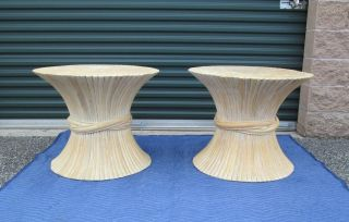 Pair Mid Century Mcguire Style Wheat Sheaf Side / End Tables Condition photo