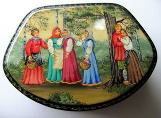 Russian Paper Mache Hand Painted Box Signed With Mother Of Pearl Inlay. photo