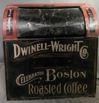 Dwinnell Wright & Co General Store Tin Tole Boston Coffee Bin Ad Advertising Can photo