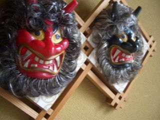 Namahage Japanese Antique Red Green Two Masks Made Plastick Attached Deco Tree photo
