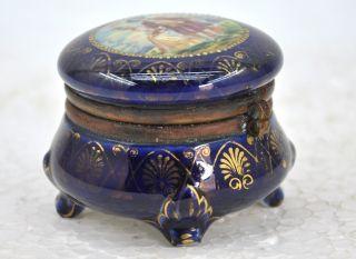 1850s Antique Fine Painted Blue Porcelain Powder Box photo
