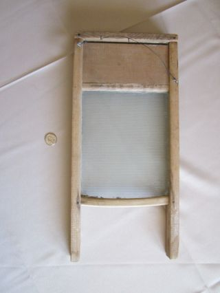 Vintage Wood & Glass Washboard photo