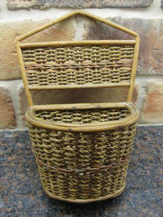 Antique Primitive C.  1910 Woven Swiss Kitchen Basket Switzerland Hand Made photo