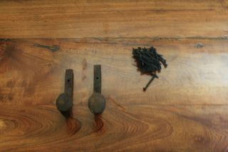 2 Old Railroad Spike Horse Tack Hooks,  Barn Handles,  Or Knobs Retro Vintage photo