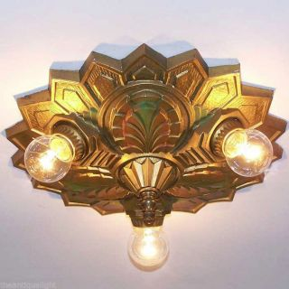 ((fancy))  Polychrome Ceiling Lamp Light Glass Shade Fixture Hall photo