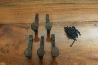 5 Old Railroad Spike Horse Tack Hooks,  Barn Handles,  Or Knobs Retro Vintage photo